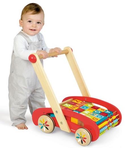 Chariot de marche Abc Buggy Tatoo avec cubes - Janod