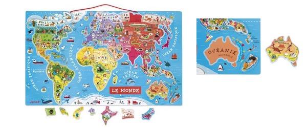 carte du monde en bois janod