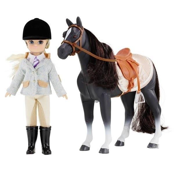 Poupée cavalière avec son cheval poney club