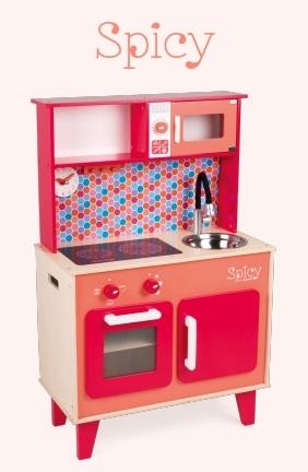 Cuisine en bois rouge pour les enfants