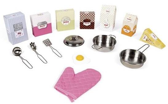 Accessoires pour jouer à la dinette cuisine en bois