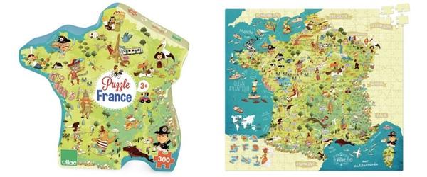 puzzle carte des merveilles de france vilac