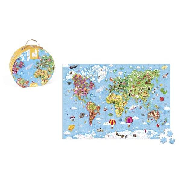 puzzle geant monde janod