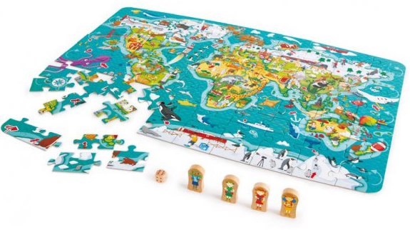 Puzzle et jeu de société sur le thème de la géographie