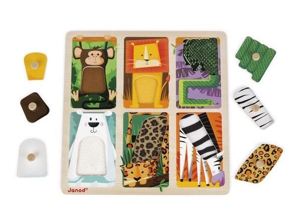 puzzle tactile les animaux du zoo janod