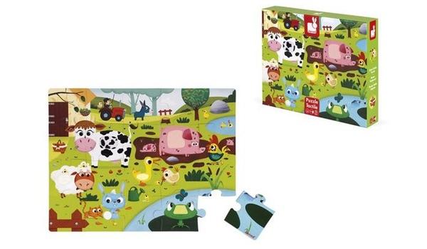 puzzle tactile les animaux de la ferme janod