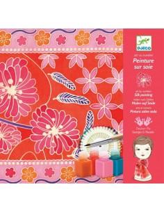 Peinture sur soie foulard jardin japonais