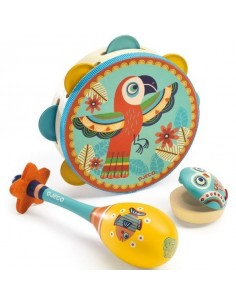 Set musical tambourin, maracas et castagnette Animambo