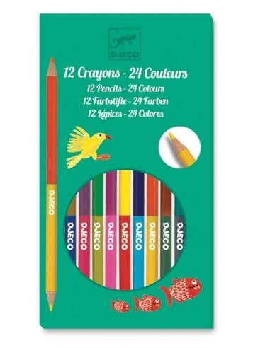 Crayons de couleurs doubles côtés -...
