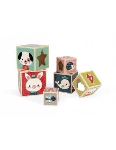 Pyramide 6 cubes baby forest - Janod