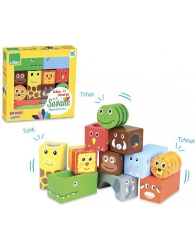 Cubes sonores animaux de la savane -...