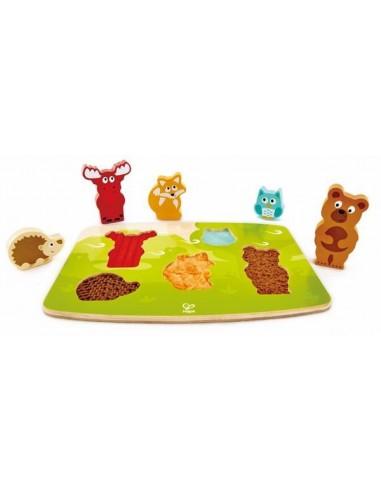 Puzzle tactile animaux de la forêt -...