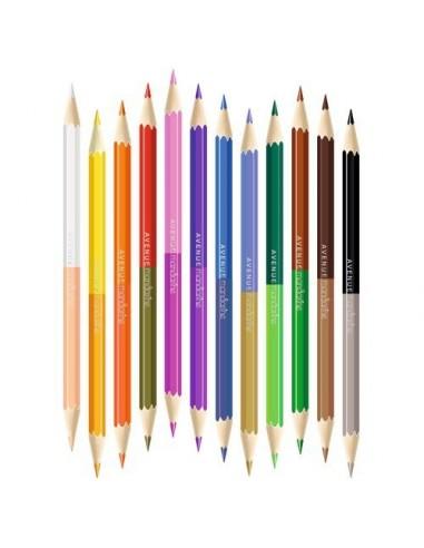 Tube de 12 crayons double pointes -...