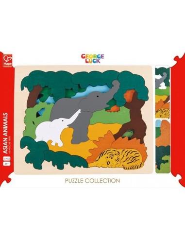 Puzzle animaux d'Asie 2 niveaux - Hape