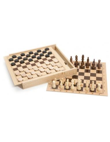 Coffret d'échecs et de dames - Jeujura