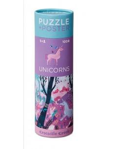 Puzzle et poster licorne 100 pièces
