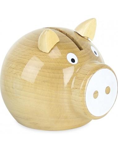 Tirelire cochon bois naturel - Vilac