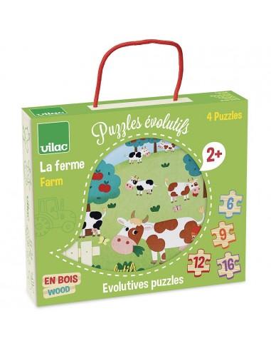 4 puzzles évolutifs la ferme - Vilac