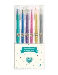 6 stylos gel pailletés - Djeco