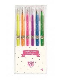 6 stylos gel fluo - Djeco