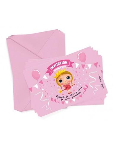 6 cartons d'invitation princesse -...