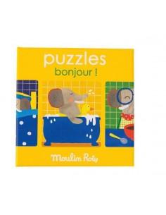 3 Puzzles bonjour Les...