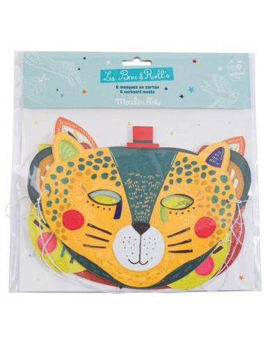 6 masques en carton jungle - Moulin Roty