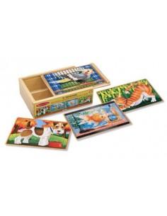 4 puzzles en bois animaux -...