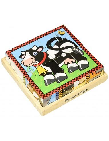 Puzzles ferme 16 cubes en bois -...