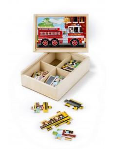 4 puzzles en bois véhicules...
