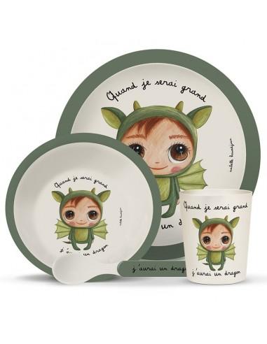Coffret vaisselle bambou dragon -...