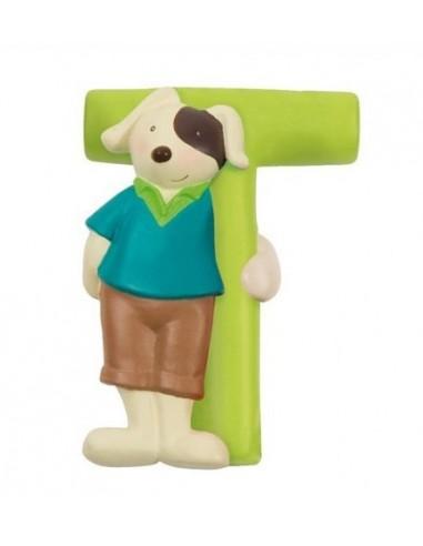 T lettre chien alphabet en résine -...