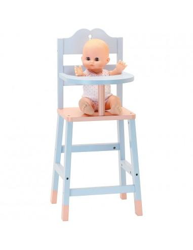 Chaise haute en bois pour poupée -...