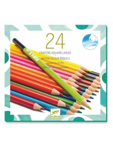 24 crayons aquarellables - Djeco