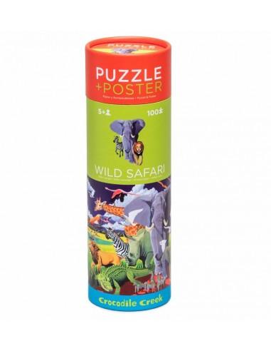 Puzzle et poster wild safari 100 pièces