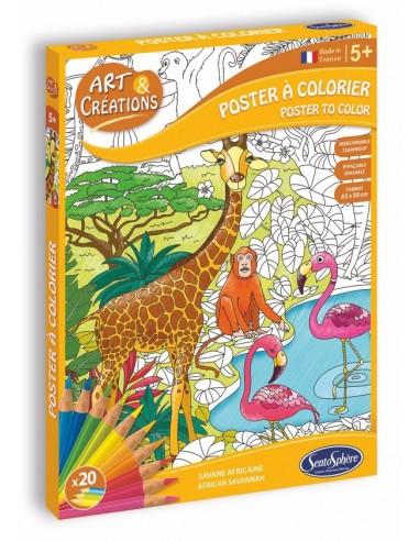 Poster à colorier savane africaine -...