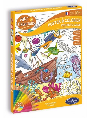 Poster à colorier fonds marins -...