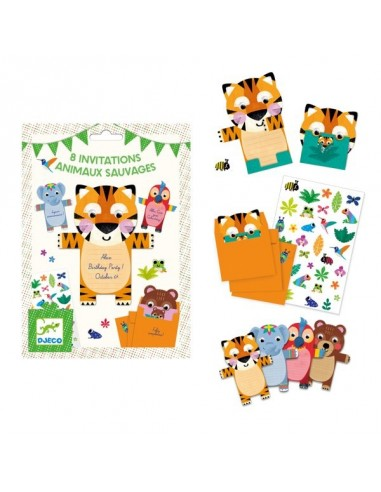Cartes d'invitation animaux - Djeco