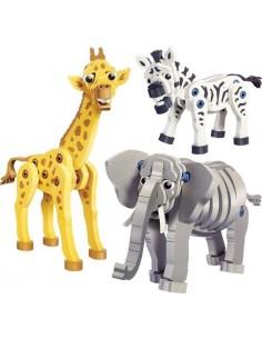 Girafe, zèbre et éléphant -...