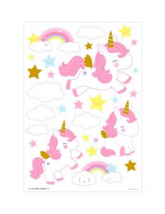 Stickers muraux licorne or