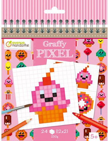 Coloriage pixel gourmandises Kawaï -...