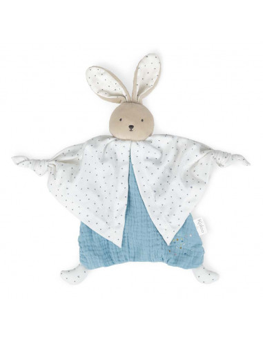 Doudou coton bio lapinou bleu - Kaloo