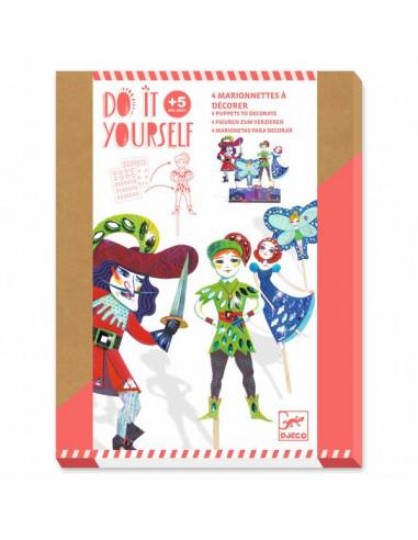 4 marionnettes à décorer Peter Pan -...