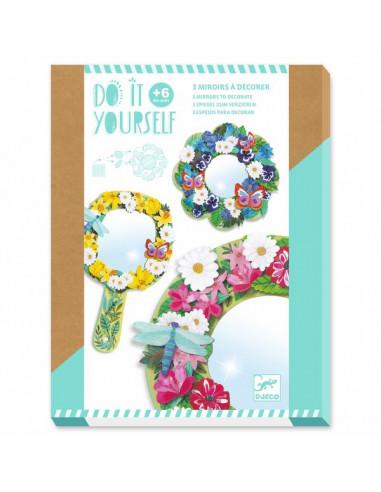 3 miroirs à décorer douceur florale -...