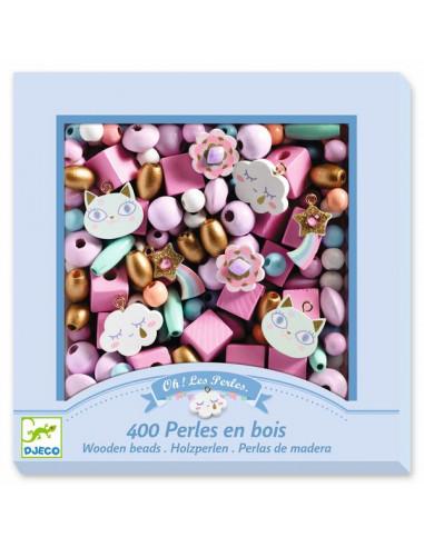 Perles en bois arc en ciel - Djeco