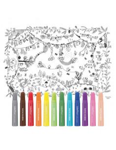 Nappe à colorier forêt enchantée et 12 feutres lavables