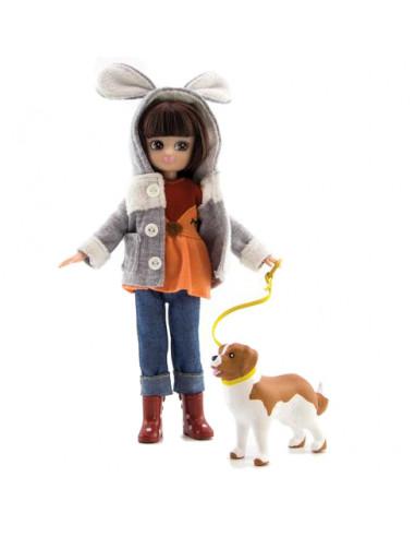 Poupée Lottie avec chien promenade...