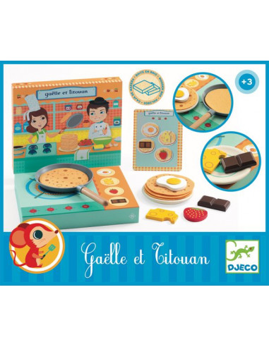 Gaëlle et Titouan atelier crêpe - Djeco