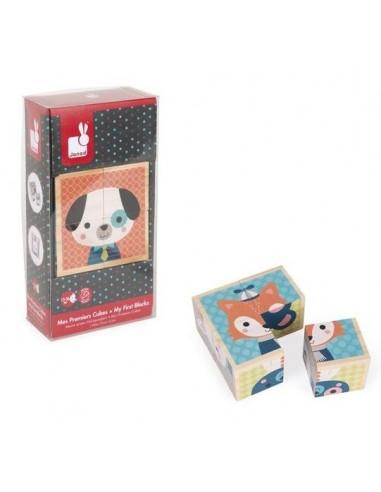Cubes en bois portraits de la forêt -...