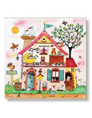 Puzzle en bois 25 pièces La maison rose